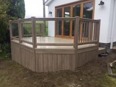 Anteak and glass uPVC garden deck holiday home decking steps park estate lodge installers suppliers manufacturers sundecks vinyl plastic skirting deck board pvc upvc extrusion polymer composite wpc wood free galvanised steel sub-frame