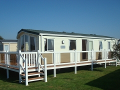 White & glass holiday home decking upvc plastic vinyl mobile park lodge caravan steps