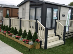 upvc plastic decking Swift Alsace Lodge holiday home caravan park deck board cream and anthracite gayle grey