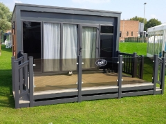 Fensys Decking on Swift S - Pace holiday home decking steps park estate lodge installers suppliers manufacturers sundecks vinyl plastic skirting deck board pvc upvc extrusion polymer composite wpc wood free galvanised steel sub-frame