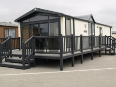 Holiday home decking gayle grey & driftwood pvc plastic upvc deck board swift steps sundeck veranda show lawns