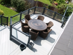 Upvc deck gayle grey glass & driftwood holiday home decking steps park estate lodge installers suppliers manufacturers sundecks vinyl plastic skirting deck board pvc upvc extrusion polymer composite wpc wood free galvanised steel sub-frame