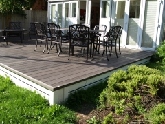 Holiday home decking charcoal composite wpc wood free decking deck board plastic upvc lodge park sundeck vinyl extrusion manufacturer