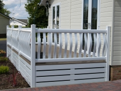 Holiday home decking white & antique oak holiday home decking steps park estate lodge installers suppliers manufacturers sundecks vinyl plastic skirting deck board pvc upvc extrusion polymer composite wpc wood free galvanised steel sub-frame