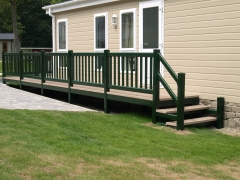 Holiday caravan decking green & tawny holiday home decking steps park estate lodge installers suppliers manufacturers sundecks vinyl plastic skirting deck board pvc upvc extrusion polymer composite wpc wood free galvanised steel sub-frame