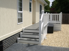 Fensys white and Premium Excel Drift deck board polymer 100% plastic upc steps caravan lodge park holiday home