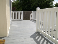 Holiday home decking white & driftwood composite wpc wood free decking deck board plastic upvc lodge park sundeck vinyl extrusion manufacturer