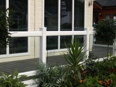 UPVC white hand rail with toughened glass