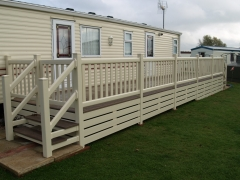 Holiday caravan decking cream & tawny holiday home decking steps park estate lodge installers suppliers manufacturers sundecks vinyl plastic skirting deck board pvc upvc extrusion polymer composite wpc wood free galvanised steel sub-frame