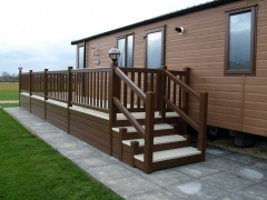 Holiday home decking rustic oak & cream upvc plastic caravan steps lodge park estate resort sundeck vinyl veranda