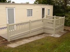 UPVC ramp deck on holiday home caravan