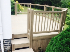 Plastic garden decking with galvanised steel sub-frame holiday home decking steps park estate lodge installers suppliers manufacturers sundecks vinyl plastic skirting deck board pvc upvc extrusion polymer composite wpc wood free galvanised steel sub-frame