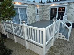 UPVC plastic home garden deck white & driftwood holiday home decking steps park estate lodge installers suppliers manufacturers sundecks vinyl plastic skirting deck board pvc upvc extrusion polymer composite wpc wood free galvanised steel sub-frame