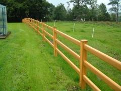 UPVC plastic golden oak 3 rail ranch fencing
