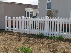 Caravan park picket fence UPVC plastic fencing fence supplier manufacturer extrusion installer ranch picket garden balustrade panel pvc wood effect gate plastic upvc