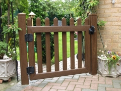 Fensys UPVC plastic rustic oak garden picket gate rear