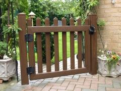 Fensys UPVC plastic rustic oak garden picket gate rear