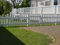Holiday home park UPVC picket fence fencing fence supplier manufacturer extrusion installer ranch picket garden balustrade panel pvc wood effect gate plastic upvc