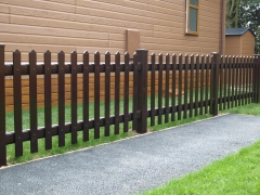 UPVC plastic pale picket fencing Holiday Park fencing fence supplier manufacturer extrusion installer ranch picket garden balustrade panel pvc wood effect gate plastic upvc