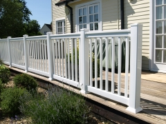 UPVC plastic balustrade style fencing Holiday Cottage fencing fence supplier manufacturer extrusion installer ranch picket garden balustrade panel pvc wood effect gate plastic upvc
