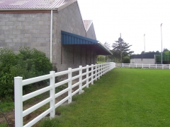 UPVC plastic white 4 rail ranch fence rugby field boundary