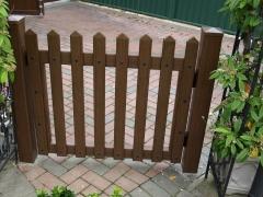 Fensys UPVC plastic rustic oak garden picket gate front