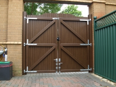 Fensys supply UPVC plastic driveway gate rustic oak rear