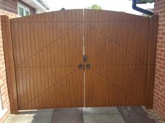 Golden Oak driveway gates front plastic upvc pvc
