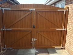 Golden oak driveway gates rear plastic pvc upvc