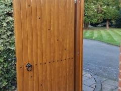 Golden oak side gates UPVC renolit foiled to match windows