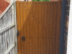 UPVC side gate in golden oak