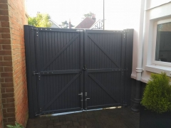 back of upvc dark gayle grey upvc plastic double gates in side entry
