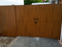 double driveway gate front golden oak plastic upvc lockable light weight strong