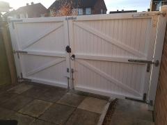 flat top driveway gate upvc white plastic fensys