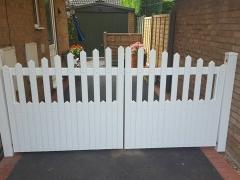 front stanley style driveway gates white plastic upvc low maintenance