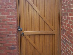 garden plastic upvc gate curved arch top golden oak side back