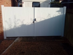 upvc driveway side garden gates white plastic fensys low maintenance