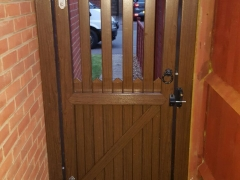upvc plastic side gate stanley style in rustic oak rear