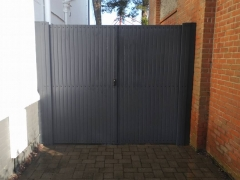 upvc side entry lockable drive gates gayle grey plastic renolit foiled