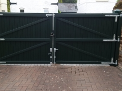 wide rear driveway upvc pvc plastic gates foiled renolit flat top fensys