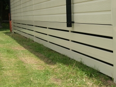 Cream Upvc ranch skirting on caravan plastic holiday home lodge park home