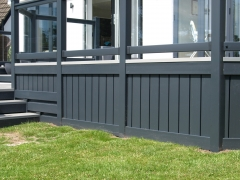 Dark anthracite gayle grey panel skirting plastic upvc garden deck home caravan park lodge