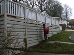 Ranch skirting on tall deck at caravan park