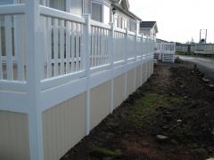UPVC Cream solid skirting on white balustrade